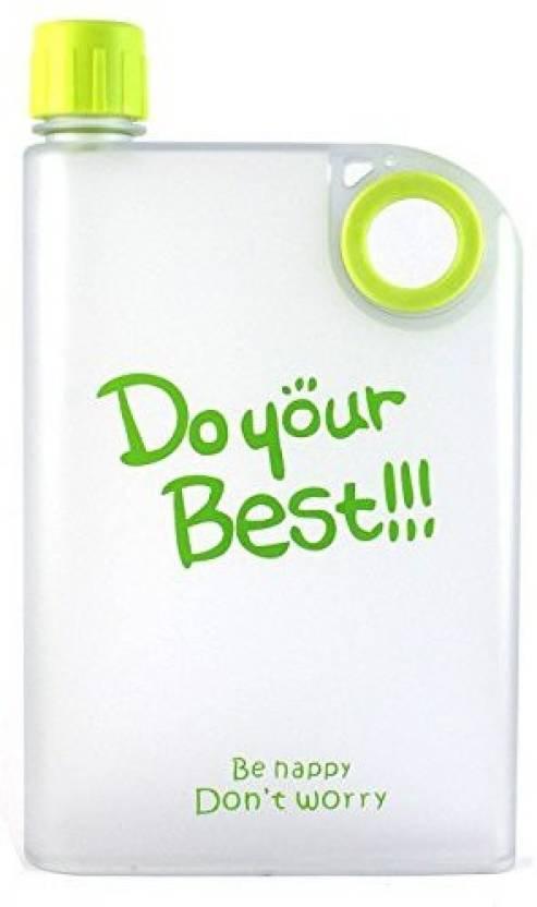ZILCH A5 Memo Bottle/Notebook Style Flat Bottle/Ultra Slim Bottle/Do Your Best Waterbottle/ Bottle(380ml) 380 ml Bottle (Pack of 1, Green, Pink, Black, ...