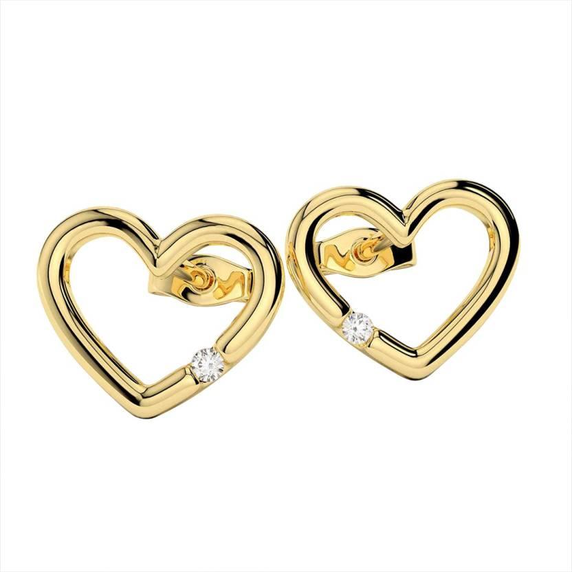 866ed39c66b3f Flipkart.com - Buy AMANTRAN Delicate Heart Earrings In Silver Yellow ...