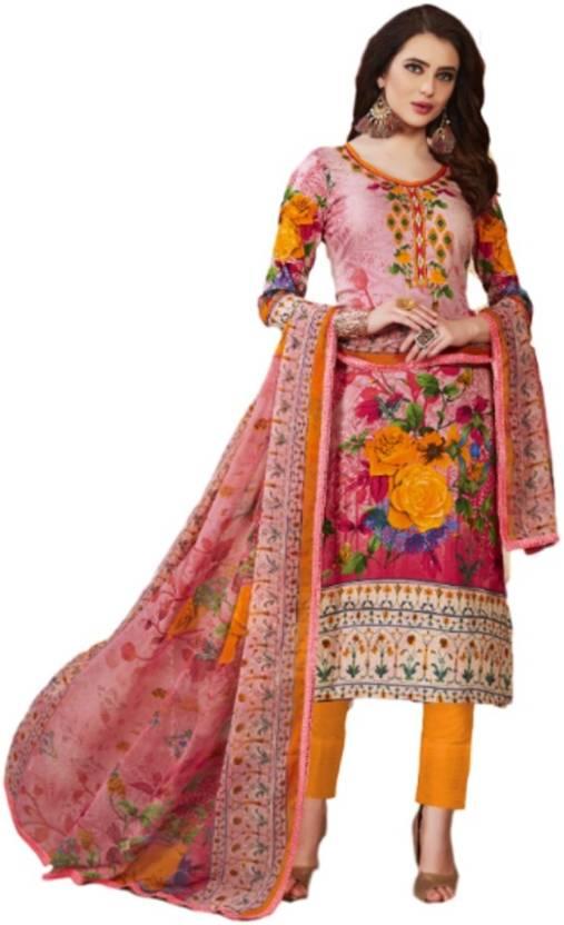 1b7fbc46a4 Srishti Creations Cotton Floral Print Salwar Suit Dupatta Material  (Un-stitched)
