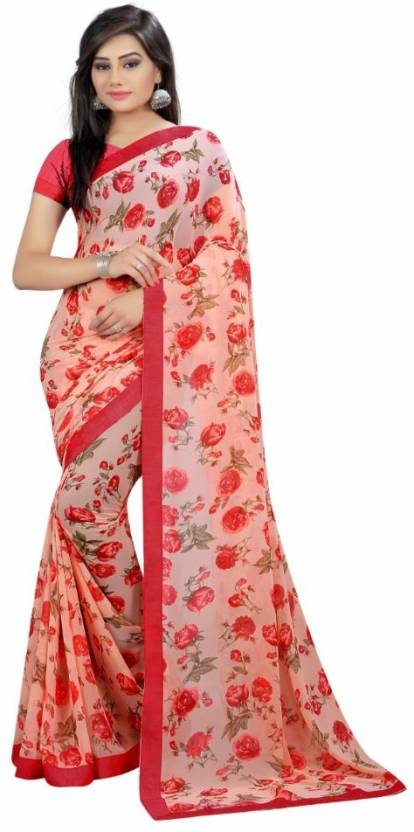 4ecfae2fb5ae0 Buy Everest Creation Printed Fashion Georgette Red Sarees Online ...