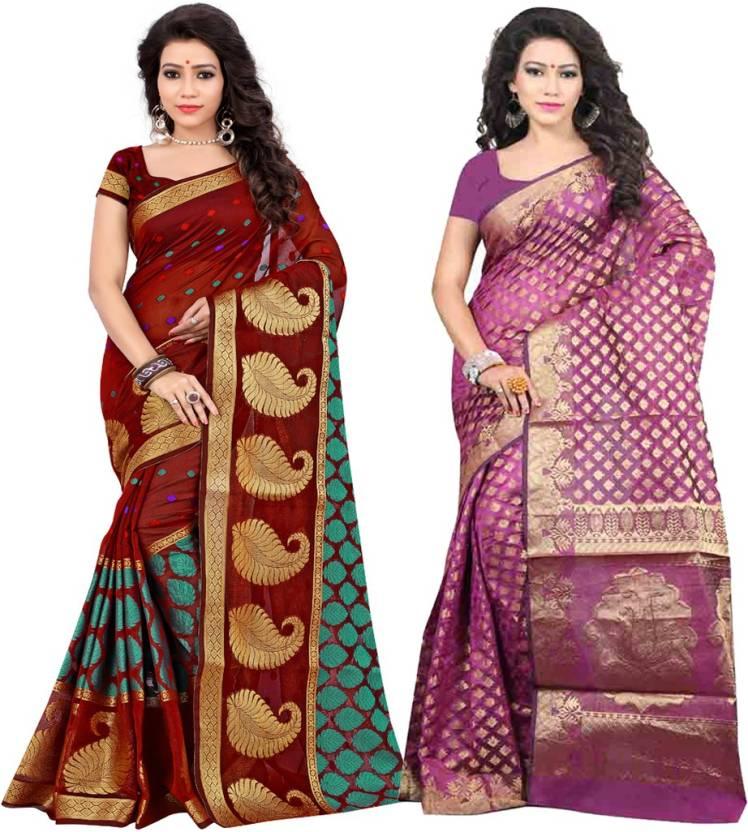 e0da7cc26c Jay fashion Self Design Banarasi Banarasi Silk Saree (Pack of 2, Multicolor)