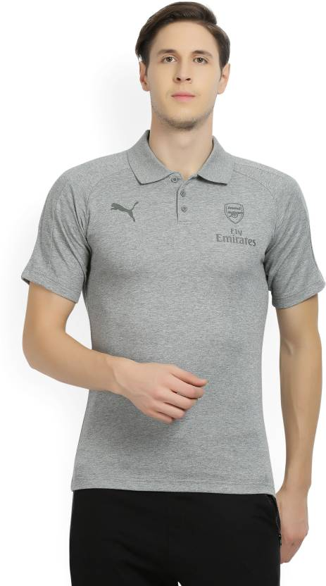 aaa4c4aef Puma Arsenal Solid Men s Polo Neck Grey T-Shirt - Buy Medium Gray Heather Puma  Arsenal Solid Men s Polo Neck Grey T-Shirt Online at Best Prices in India  ...