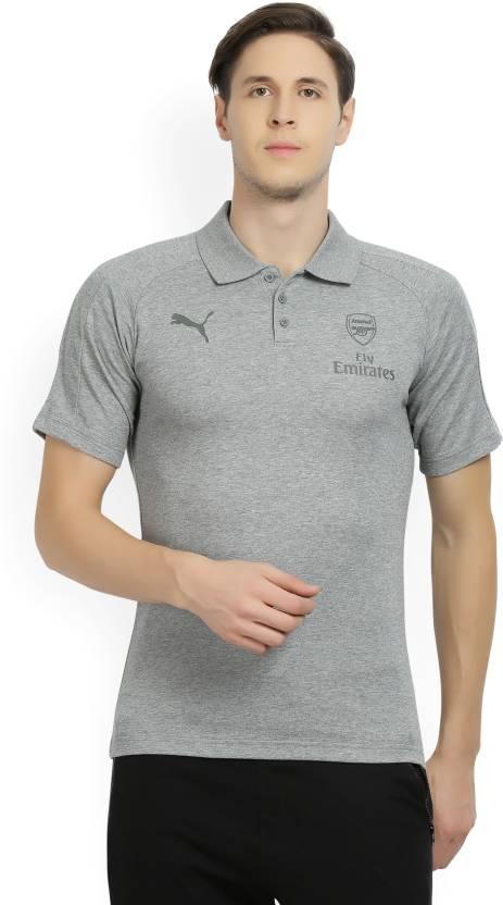d8aae58d5 Puma Arsenal Solid Men s Polo Neck Grey T-Shirt - Buy Medium Gray Heather Puma  Arsenal Solid Men s Polo Neck Grey T-Shirt Online at Best Prices in India  ...