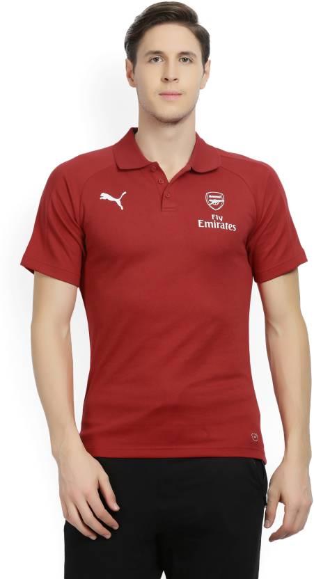 41e4b4920 Puma Arsenal Solid Men s Polo Neck Red T-Shirt - Buy Chili Pepper Puma  Arsenal Solid Men s Polo Neck Red T-Shirt Online at Best Prices in India