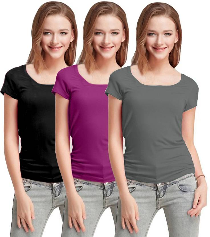 47e8ee81fa Fashion Line Solid Women's Round Neck Black, Purple, Grey T-Shirt (Pack of  3)