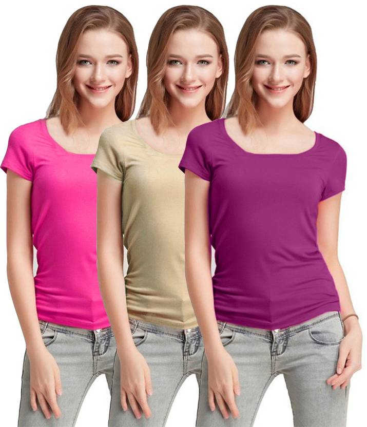 fd6a4178ab5 Fashion Line Solid Women s Round Neck Pink