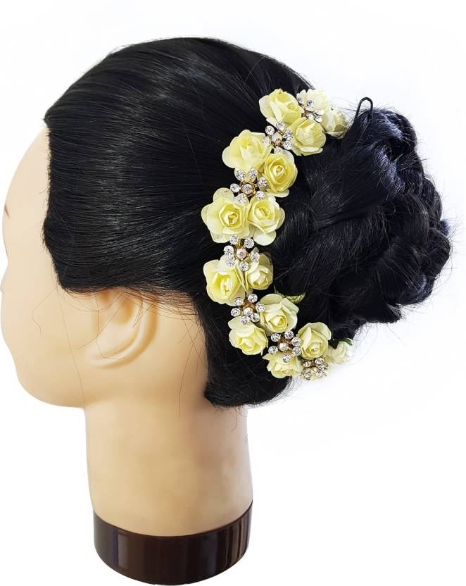 1c24a6c337d94 Fully Hair Accessories For Women Wedding, Bridal Flower Hair Gajra Bun  (Yellow)
