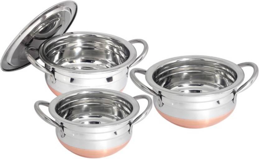bartan hub Handi with lid (3pcs , copper bottom ) Handi 1 L (Steel, Copper)