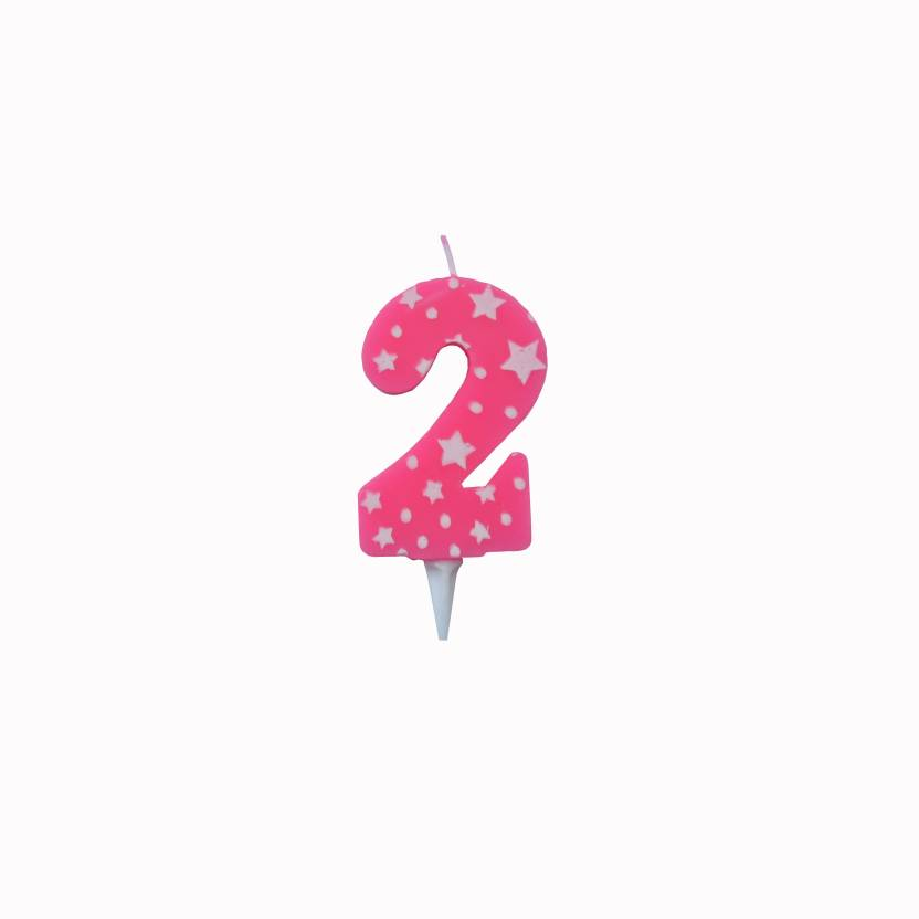 PEPUP Star Birthday Wedding Anniversary Number Candle 2 Pink For A Fun