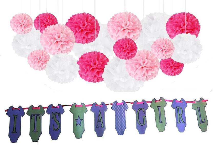 Theme My Party Pink 11 Birthday Decorations 9 Tissue Paper Pom Flowers Balls 1 Its A Girl Banner