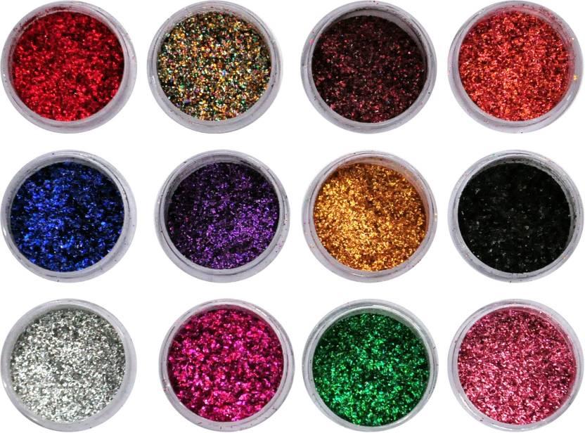 Vozwa Colourful Sparkles Nail Art Glitter Powder 12 Pcs - Price in ...
