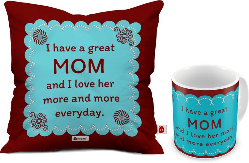 Indigifts Mothers Day Special Gift For Mom Mummy Mother In Law Grandma Birthday Cushion Best D CM001 MOM17007 Mug Set Price