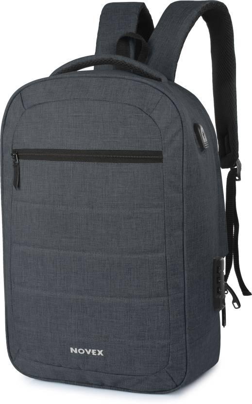9b78639b905f Novex Anti Theft 20 L Laptop Backpack Dark Grey - Price in India ...