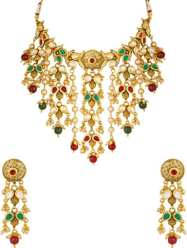 c0d40318a5c19 Voylla Graceful Rajasthani Style Sparkle Glimpse Necklace Set Pearl  Gold-plated Plated Brass Necklace Set