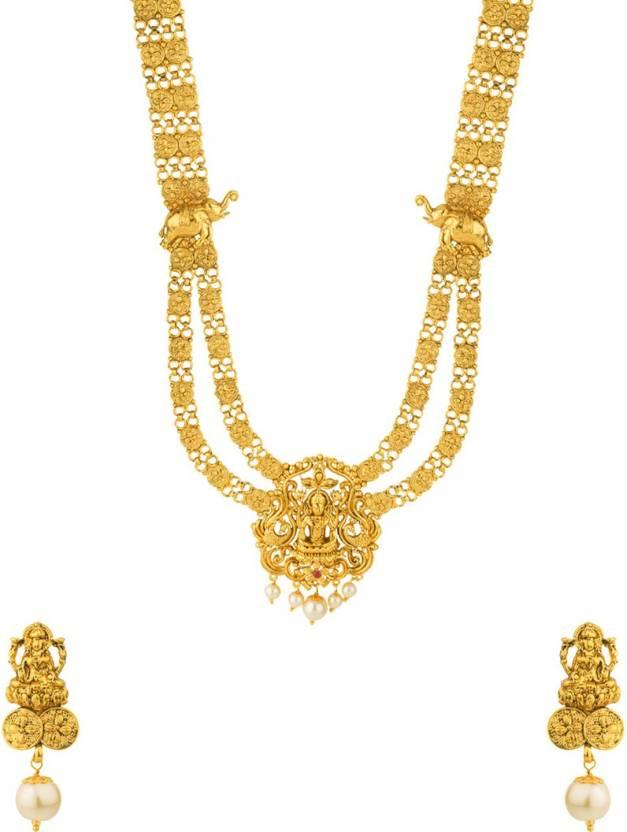10c11c78765c3 Voylla Goddess Laxmi Motif Southern Trance Long Necklace Set Pearl ...