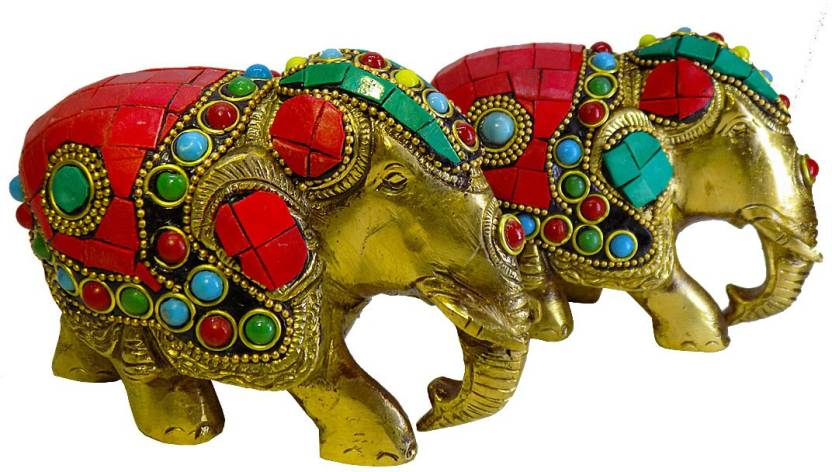 Kavoo Brass Trunk Up Elephant Statues Set Of 2 Showpiece Metal