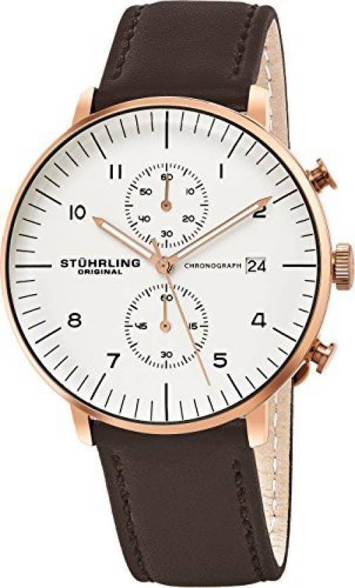 25c32c52e Stuhrling Original white20694 Stuhrling Original Men's 803.04 Monaco Analog  Display Quartz Brown Watch Analog Watch -