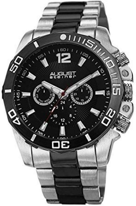 44efe9c4d2f00 August Steiner Black12213 August Steiner Men s AS8113TTB Swiss Quartz  Multifunction Black Dial Silver-tone   Gun Bracelet Watch Watch - For Men - Buy  August ...