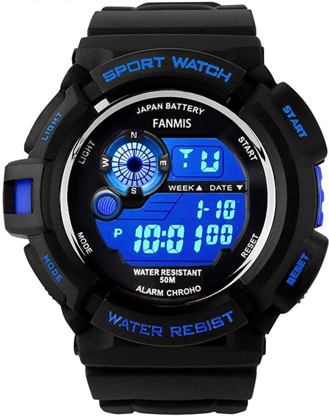 Fanmis Black 15747 Fanmis Mens Military Multifunction Digital LED Watch Electronic Waterproof Alarm Quartz Sports Watch