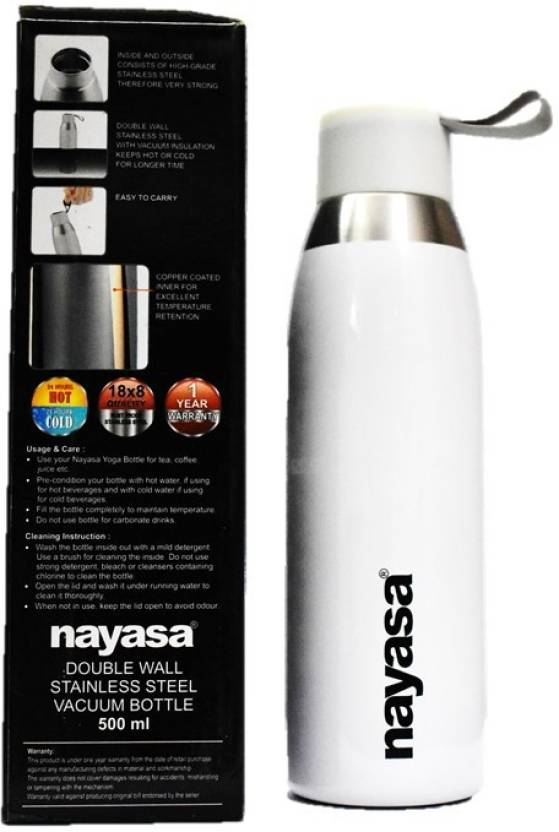 56a121cf62 Nayasa SAPARA YOGA HOT AND COLD WATER BOTTLE SET OF 1 WHITE 500ML 500 ml  Bottle (Pack of 1, White)
