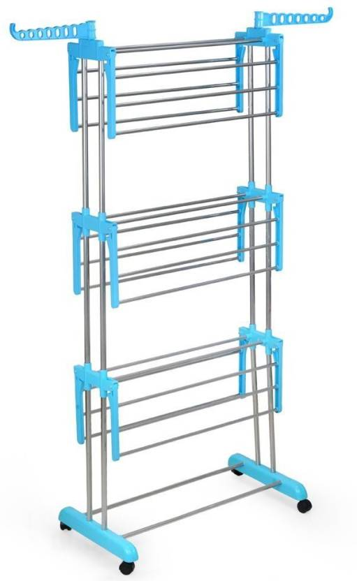 Dolphin Life Time Use Heavy Duty Laundry Hanger Made By Chrome Finish pipe  Stainless Steel Floor Cloth Dryer Stand