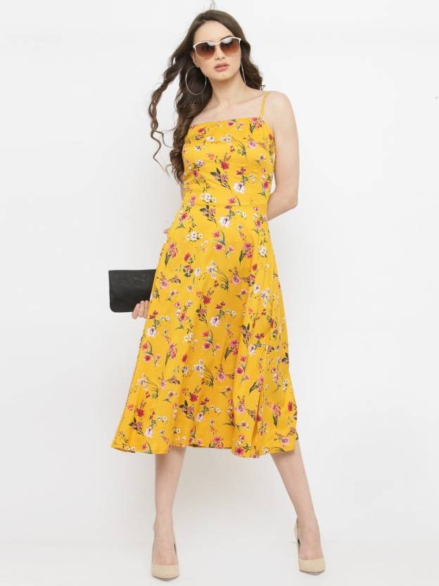 91fadd5b230c Pluss Women Fit and Flare Yellow Dress - Buy Pluss Women Fit and Flare  Yellow Dress Online at Best Prices in India | Flipkart.com