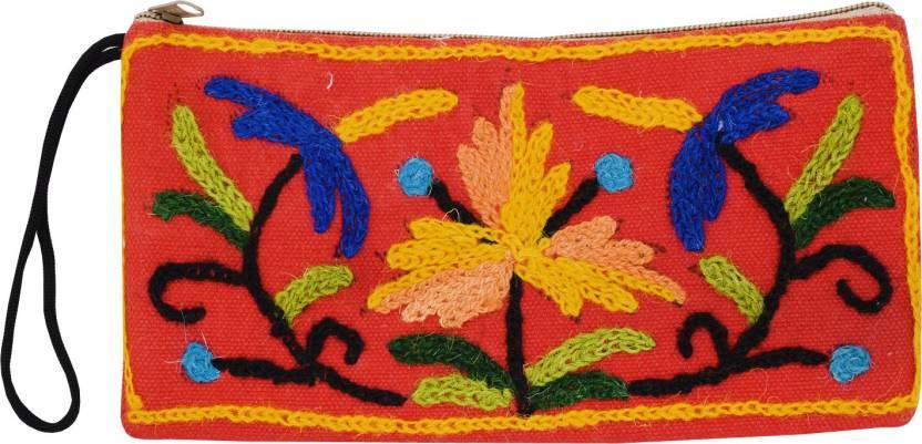 45bfa8c0d5 Bagaholics Handmade Kashmiri Crewel Embroidery Wool Wristlet Pouch ...