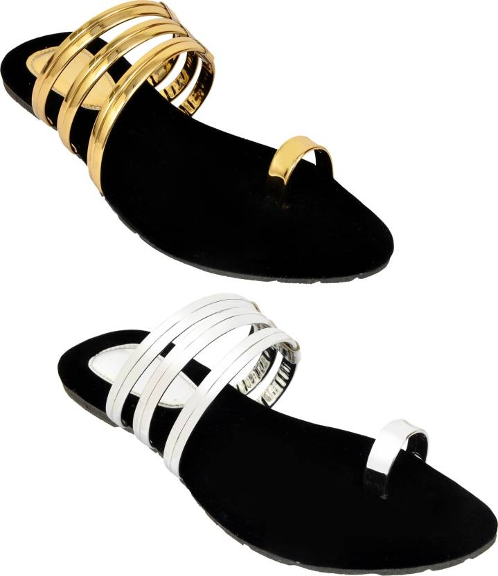 3220c294dcc78a Altek Women Golden and Silver Flats - Buy Altek Women Golden and Silver  Flats Online at Best Price - Shop Online for Footwears in India