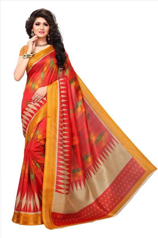 111ffad8d3 Buy Winza Designer Printed Bhagalpuri Silk Red Sarees Online @ Best ...