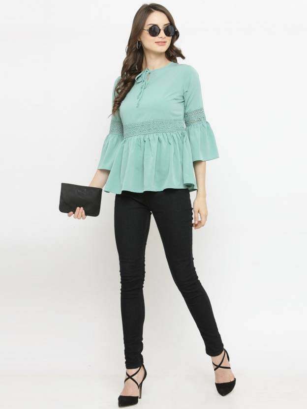 a2700a17592f7b Pluss Casual 3/4th Sleeve Solid Women's Green Top - Buy Pluss Casual 3/4th  Sleeve Solid Women's Green Top Online at Best Prices in India | Flipkart.com