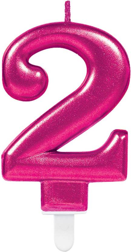 Party24x7 2 Number Metallic Birthday Candle Pink