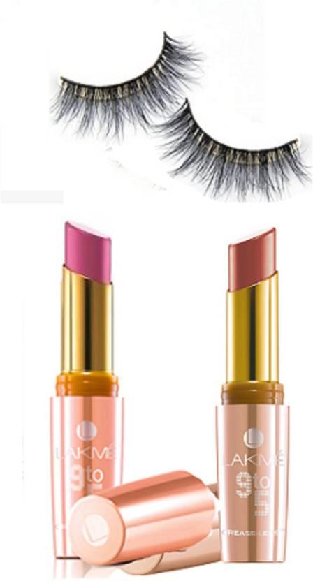 5456cba4a1 Royal Combo Eyelashes Lakme 9 To 5 Lip Color Lipstick Pack Of 2 Set 3