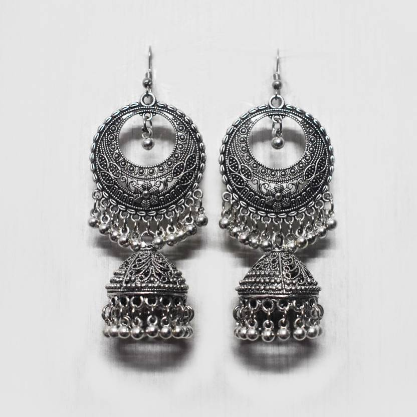 2fa58bf4d Flipkart.com - Buy myasa Antique Silver Color Filigree Earrings Alloy  Dangle Earring Online at Best Prices in India