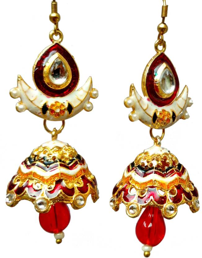 29221dc622 Flipkart.com - Buy MeeHra Rajasthani Meenakari Kundan Traditional Chandbali  Jhumki Earrings for women and girls in white Pearl Brass Chandbali Earring  ...