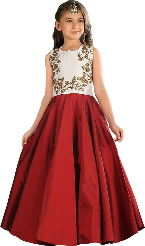 72f254b1516 White Button Girls Maxi Full Length Party Dress Price in India - Buy ...