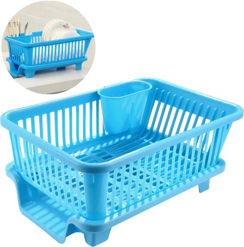 22f682260c28 House of Quirk Sink Dish Drainer Drying Rack Washing Holder Basket  Organizer Tray (44 x 30.5 x 14.8 CM) Plastic Kitchen Rack (Blue)