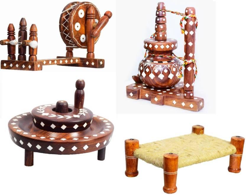 ARZ Combo of Decorative Charkha, Chakki, Chaati and Manjaa