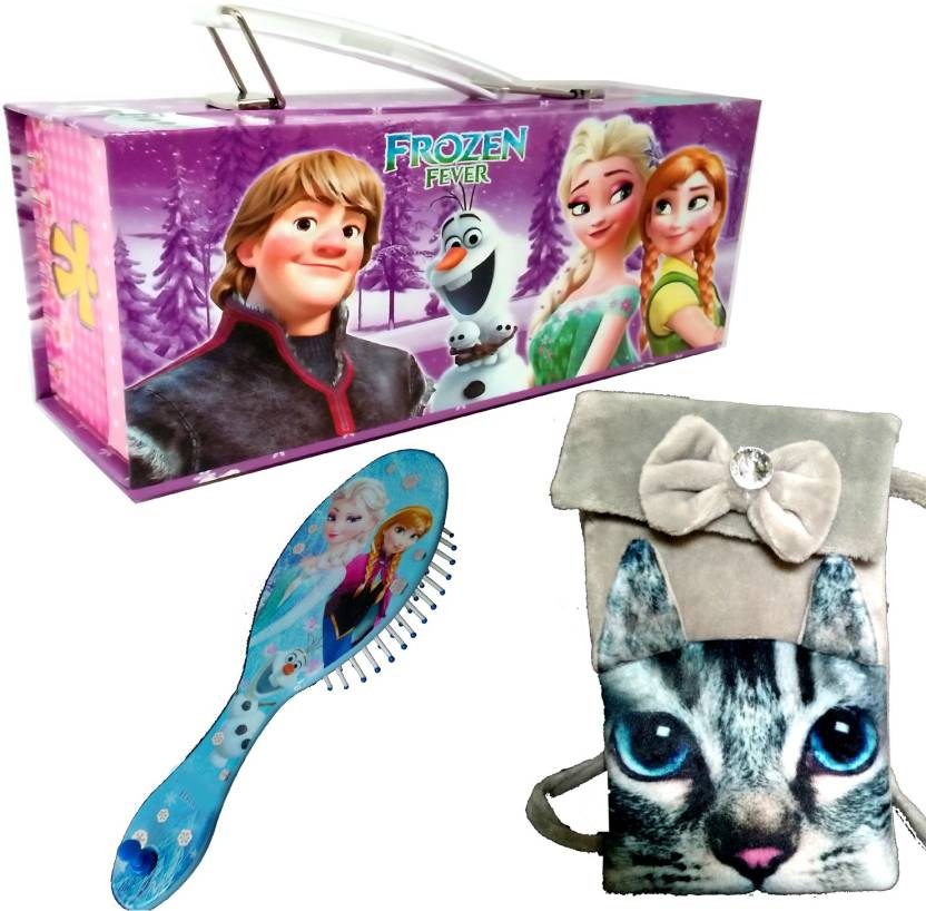 TECHNOCHITRA UNIQUE GIFT SET JEWELLARY CUM MAKEUP BOX , HAIR BRUSH WITH PRINTED FURRY CAT POUCH BIRTHDAY / RETURN GIFT COMBO (Set of 3)