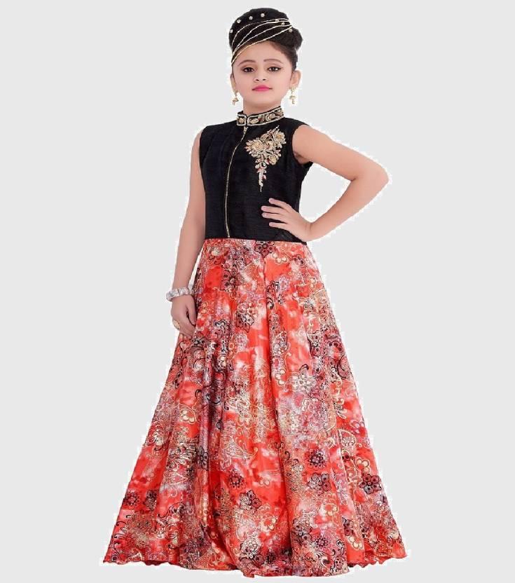 50d826812 Wommaniya Impex Girls Maxi/Full Length Party Dress (Multicolor, Sleeveless)
