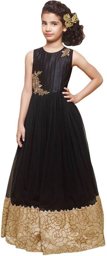 6ab7e9215 White Button Girls Maxi/Full Length Party Dress Price in India - Buy ...