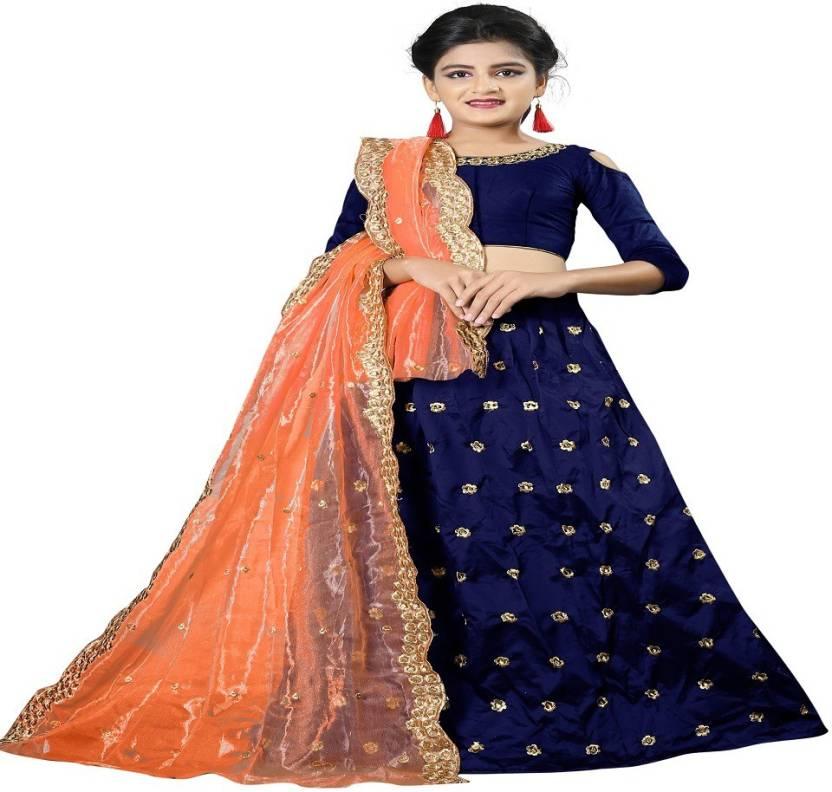 d02d52aace29 F Plus Fashion Girls Lehenga Choli Party Wear Embroidered Lehenga Choli  (Blue, Pack of 1)