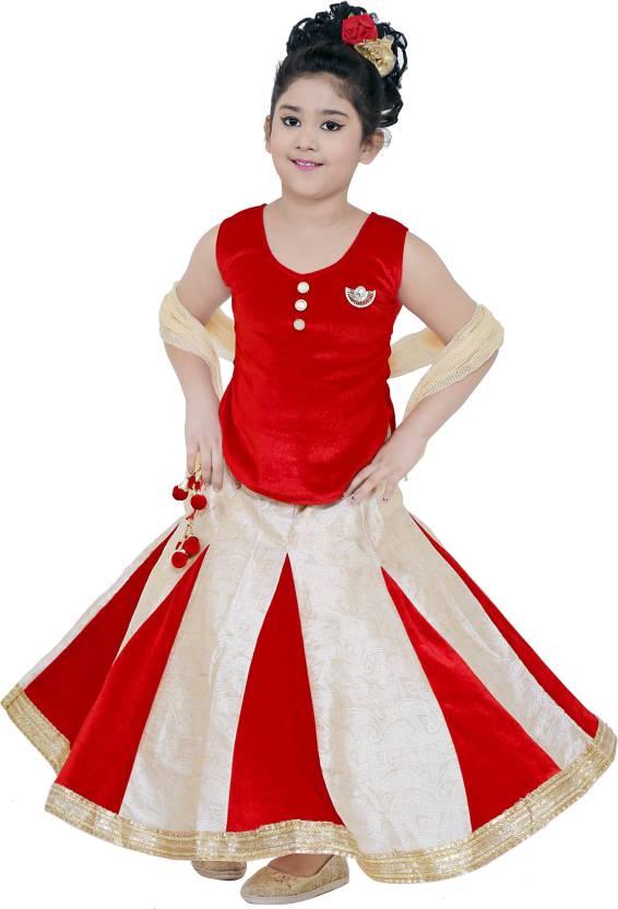b7df38dc37 stylokids Girls Lehenga Choli Party Wear, Ethnic Wear Self Design Lehenga,  Choli and Dupatta Set (Multicolor, Pack of 1)