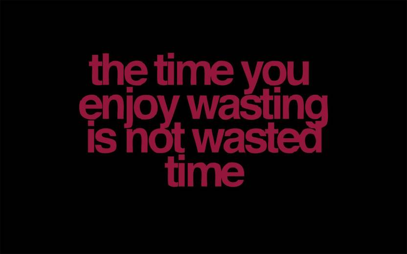 The Time You Enjoy Wasting Is Not Wasted Time Motivational Posters