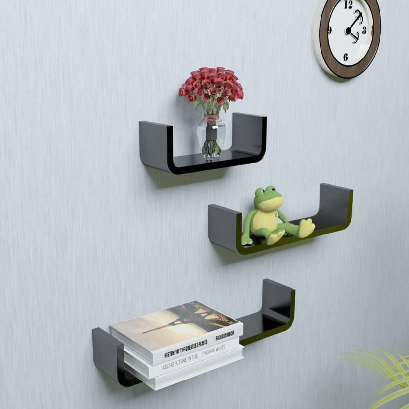 14b6737580 WoodWorld u shaped shelf rack MDF Wall Shelf (Number of Shelves - 3, Black)