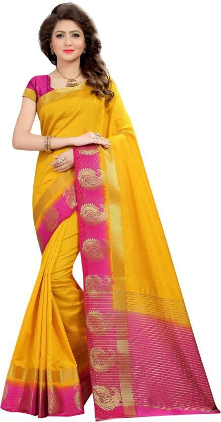 HashTag Fashion Striped, Self Design Bollywood Silk Saree