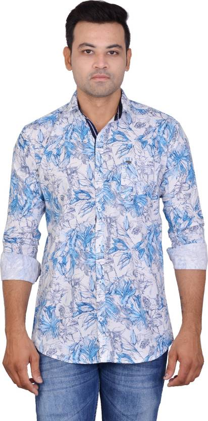 b9409ef58ad La Milano Men s Floral Print Casual Blue Shirt - Buy La Milano Men s Floral  Print Casual Blue Shirt Online at Best Prices in India