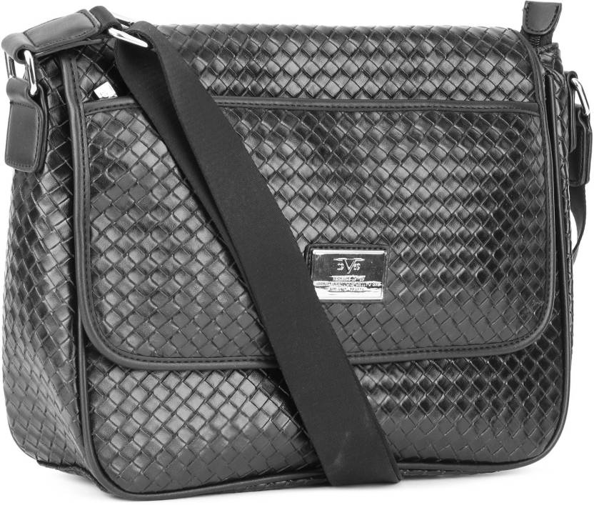 fe77973700 Versace 19.69 Italia Men   Women Black Genuine Leather Sling Bag NERO -  Price in India