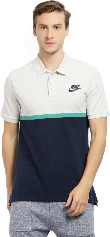 eb5e27661193be Nike Color block Men Polo Neck White