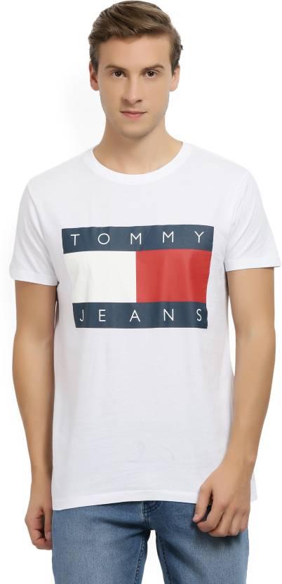 98506753a Tommy Hilfiger Printed, Color block Men Round Neck White T-Shirt - Buy  White Tommy Hilfiger Printed, Color block Men Round Neck White T-Shirt  Online at Best ...