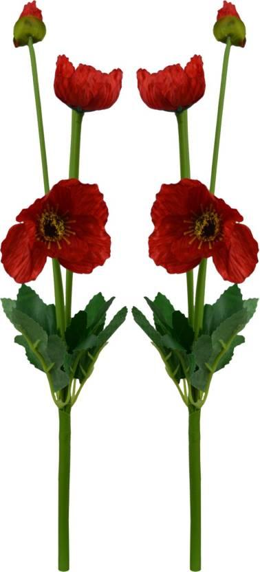 Decorebugs Poppy Silk Flower Sticks Red Poppy Artificial Flower